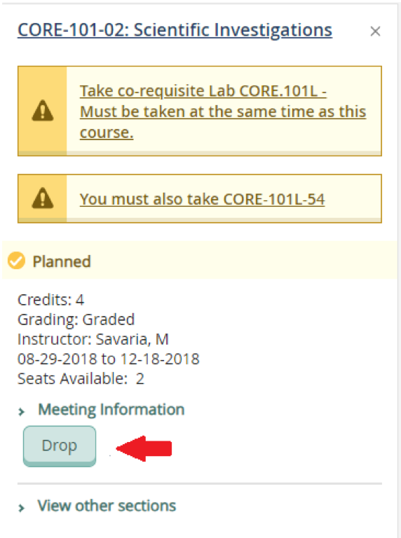 "To drop a course, click ""Drop"" under that course"