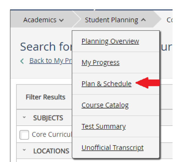 "In RogerCentral, from the top menu, click on ""Student Planning"" and then on ""Plan and Schedule"""
