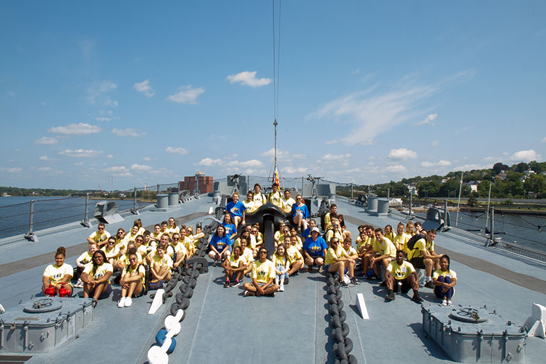 Students helped restore the U.S.S. Battleship.
