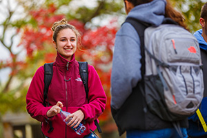 Girl smiling on campus
