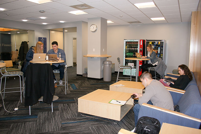 Students study in the Business School student lounge
