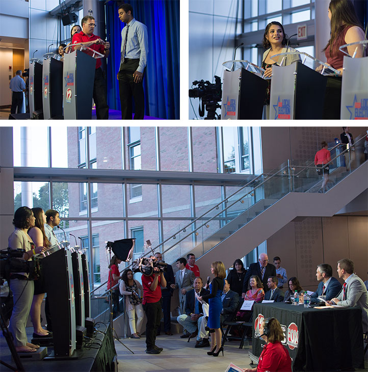 Three images of students at podium