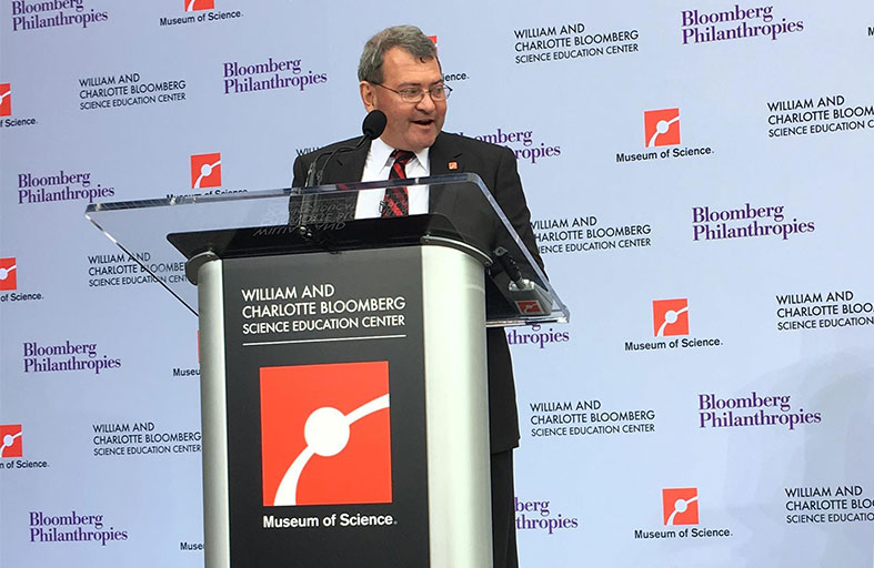 Miaoulis offers remarks at a news conference at the museum.