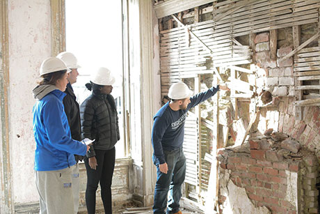 Engineering Students work on a project at Fort Adams.