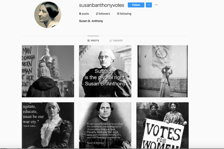 Screen shot of Susan B. Anthony's Instagram account.