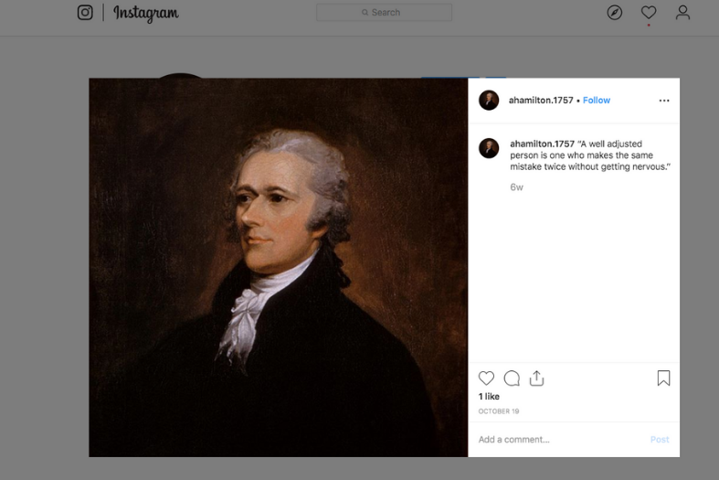 Alexander Hamilton's Instagram account.