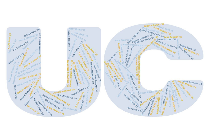 UC graphic with names of graduates inside letters.