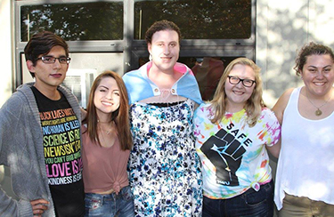 Five Roger Williams Students attending the Fall 2017 Queer and Trans Welcome Reception.
