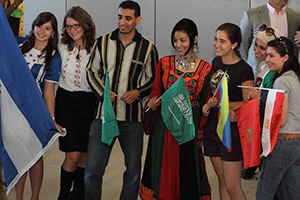 Students smiling for a photo at Global Fest