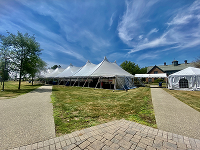 image of RWU Dining Tent outside The Commons on Bristol Campus