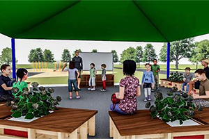 A digital animation of an outdoor classroom