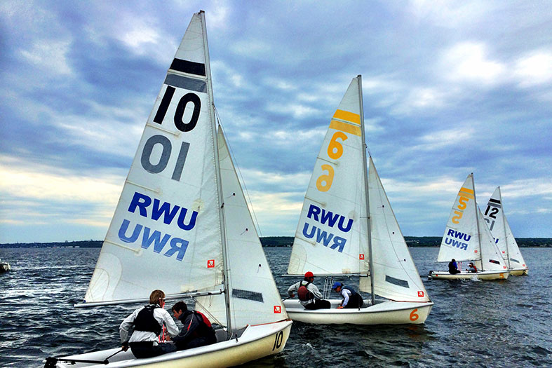 RWU sailing team practicing on the campus waterfront.