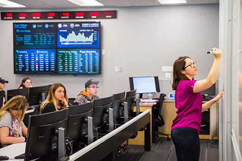 A professor instructs students inside a financial trading room.