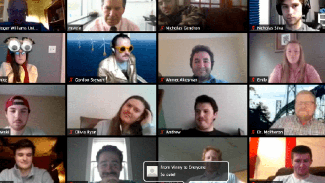 Screenshot of Zoom chat with multiple faces.
