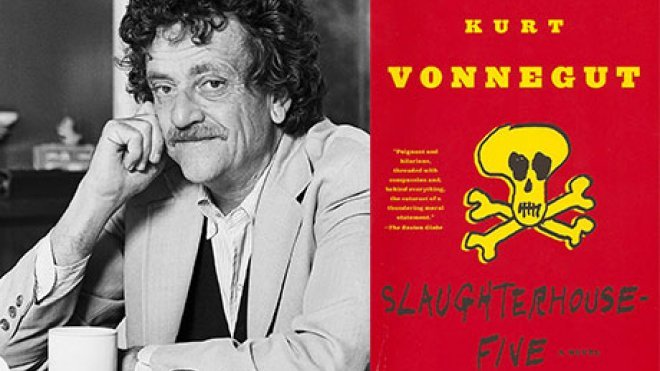 Kurt Vonnegut and the cover of Slaughterhouse-Five.