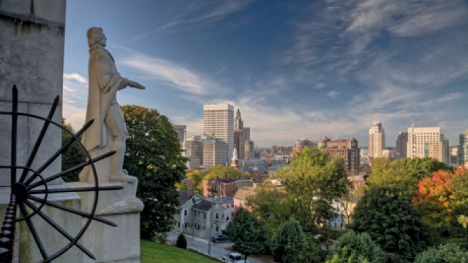 Statue of Roger Williams overlooking the Providence skyline.