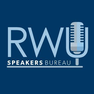 image of RWU Speakers Bureau logo featuring an old-fashioned microphone