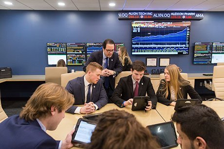 Students working in the portfolio management program.