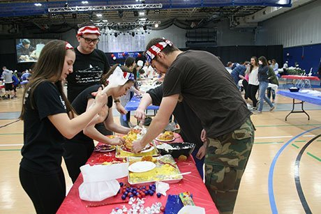 Students compete in cake decorating contest.