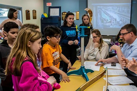 Fourth-graders from Bristol-Warren School District learn about engineering design and wind turbine energy at RWU.