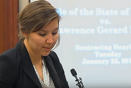 Rebekah Snyder reads victim advocate statements in Larry Nassar trial.
