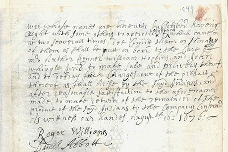 Historic letter by Roger Williams