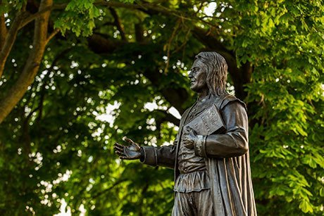 Statue of the RWU's namesake, Roger Williams, on the Bristol campus.