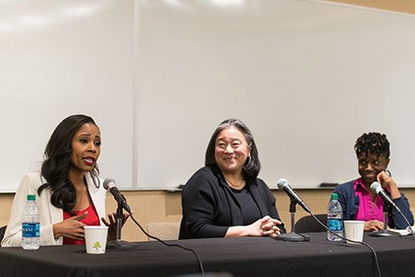 Panelists talk about being women of color in the workplace.