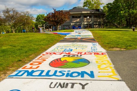 Messages painted by students on the Unity Walkway on the Bristol campus