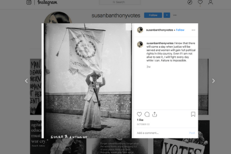 Screen shot of Susan B. Anthony Instagram post.