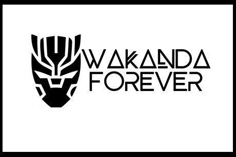 Wakanda Forever text with Black Panther image.