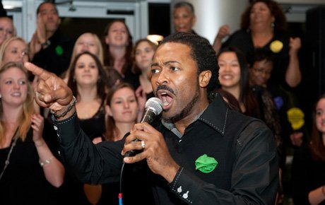 Gospel singer leads the choir
