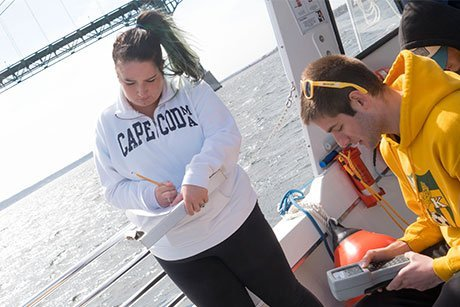 Students conduct water depth experiments onboard the research vessel.