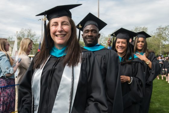 MPA graduates march as part of the 2017 Commencement at Roger Williams University