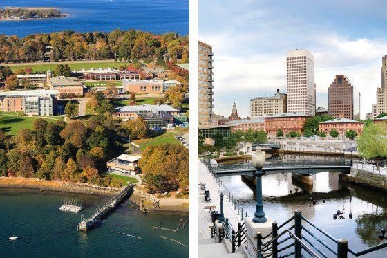 Side-by-side photos of the RWU Bristol Campus and the Providence skyline