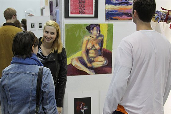 Students in a gallery