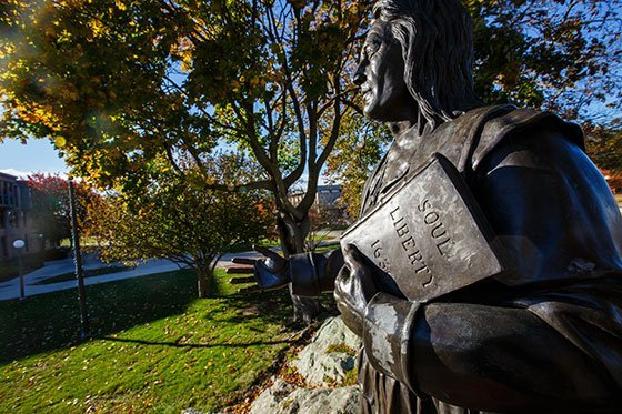 Roger Williams statue on campus.