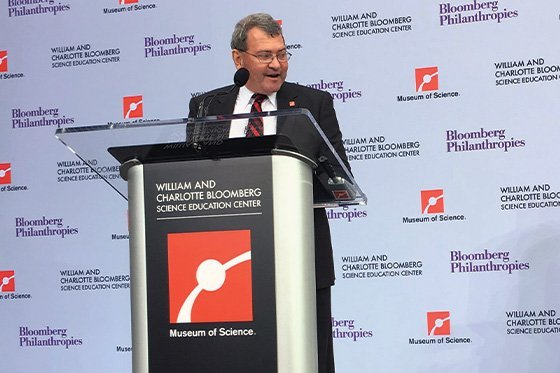 President-Designate Ioannis Miaoulis speaks at the Museum of Science