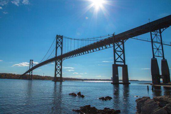 Picture of the Mount Hope Bridge next to the Roger Williams University campus in Bristol