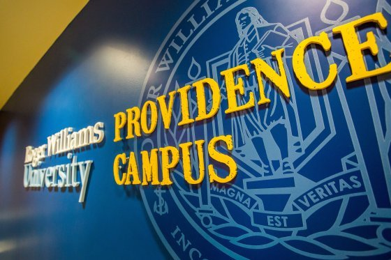 Entryway sign of the Roger Williams University Providence Campus