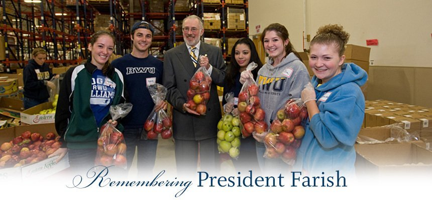 President Farish with students at a food shelter.