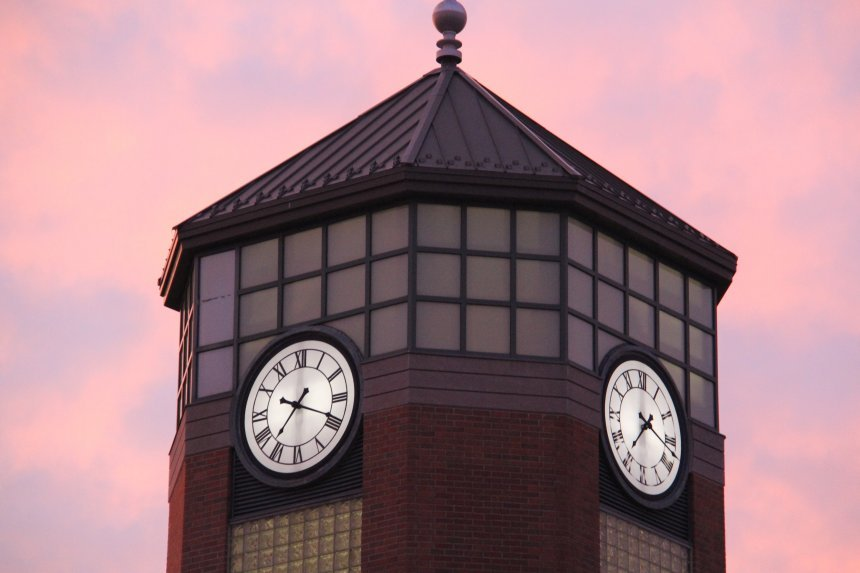 Photo of the top of the clock tower on the University Library