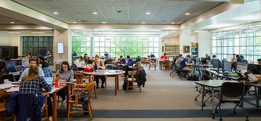 Students studying in the University Library.