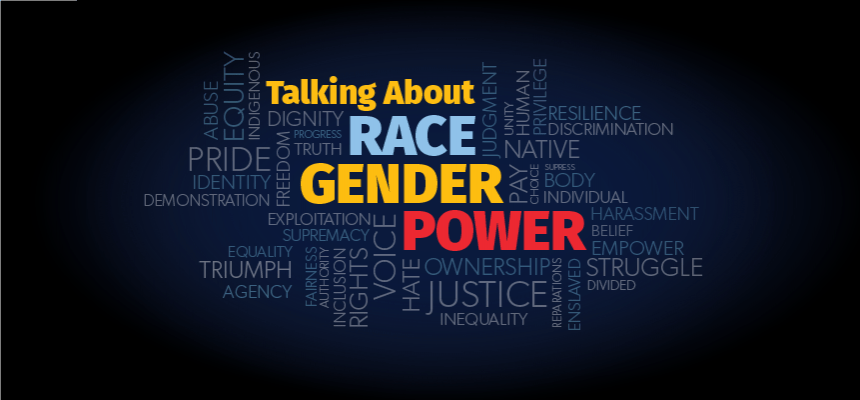 The logo for Talking About Race Gender and Power which includes those words surrounded by a series of other words related to the theme