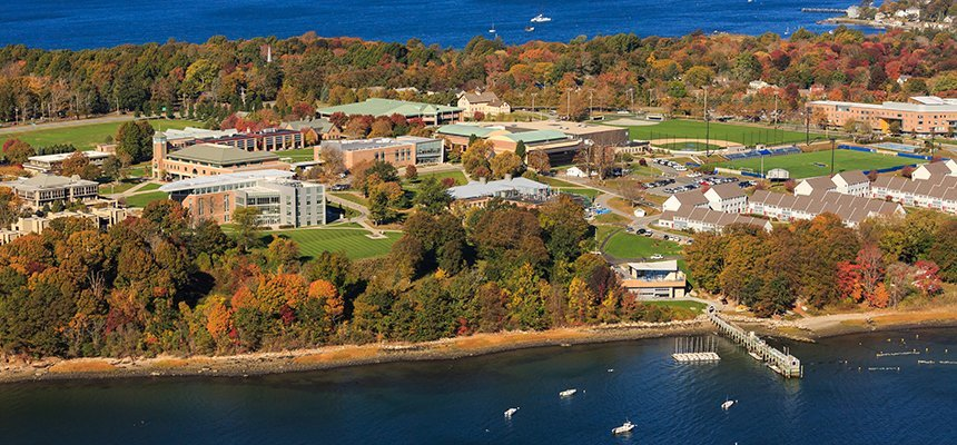 image of aerial view of RWU's Bristol campus and the bay that surrounds it