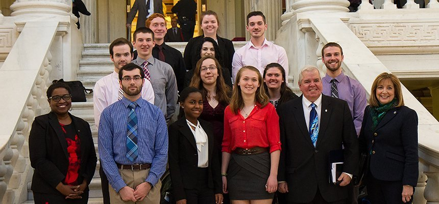 Students and professors met with R.I. General Assembly members at the State House.
