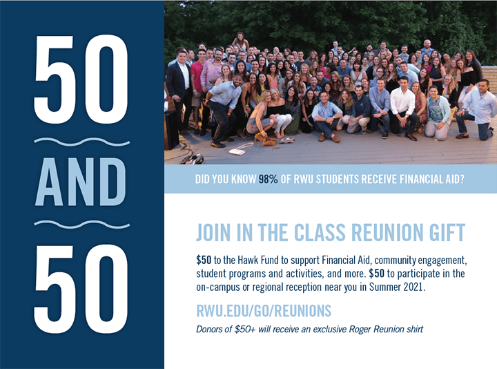 50 & 50! Make a $50 gift and purchase a $50 ticket for your reunion